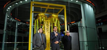 ディカプリオ東京証券取引所で記者会見
