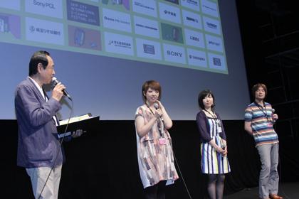 上映後の監督Q&A:左から 映画祭ディレクター瀧沢祐二 水尻自子監督 吉田まほ監督 金子修監督