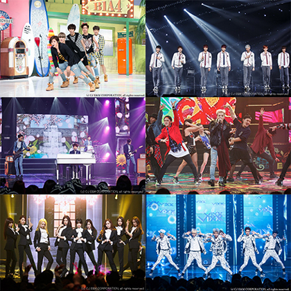 M-COUNTDOWN-2-Nights-in-LA 出演予定歌手上段:B1A4、BTS、中段:CNBLUE、GD、下段:GirlsGeneration、VIXX(c) CJ E&M CORPORATION, all rights reserved.
