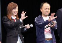 舞台挨拶時にてマキタスポーツさん&真野恵里菜さん