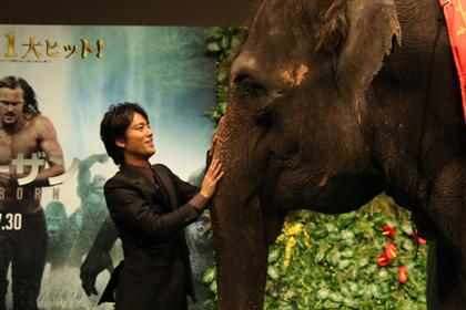 桐谷健太 象にまたがり雄たけび!『ターザン:REBORN』Jプレミア