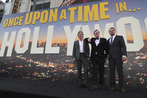 "Hollywood, CA - July 22, 2019: Brad Pitt, Quentin Tarantino, Director/Writer/Producer, and Leonardo DiCaprio at the Premiere of Sony Pictures' ""Once Upon A Time In Hollywood"" at the TCL Chinese Theatre. (Photo by Eric Charbonneau/for Sony Pictures/Shutterstock)"