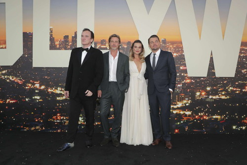 "Hollywood, CA - July 22, 2019: Quentin Tarantino, Director/Writer/Producer, Brad Pitt, Margot Robbie and Leonardo DiCaprio at the Premiere of Sony Pictures' ""Once Upon A Time In Hollywood"" at the TCL Chinese Theatre. (Photo by Eric Charbonneau/for Sony Pictures/Shutterstock)"