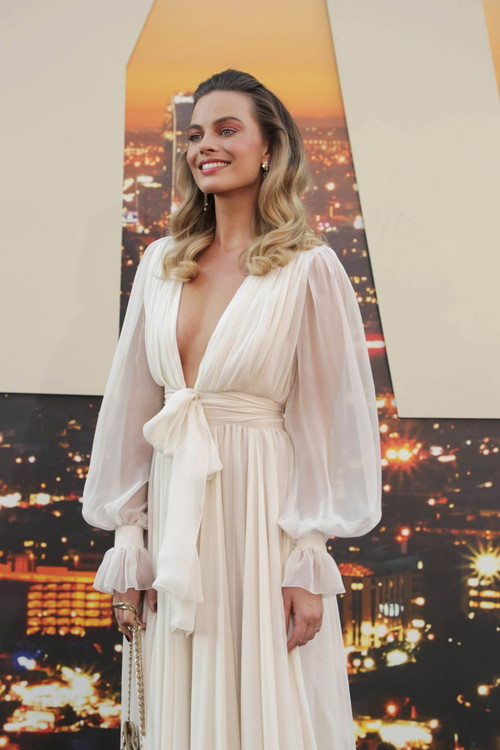 "Hollywood, CA - July 22, 2019: Margot Robbie at the Premiere of Sony Pictures' ""Once Upon A Time In Hollywood"" at the TCL Chinese Theatre. (Photo by Eric Charbonneau/for Sony Pictures/Shutterstock)"