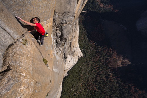 Alex Honnold free solos on El Capitan's Freerider in Yosemite National Park.