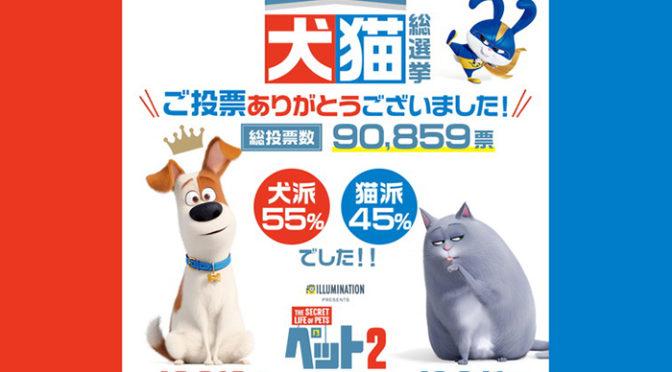 犬猫総選挙 結果発表/ 犬派の勝利!投票した国民の55%が犬派!45%は猫派!『ペット2』