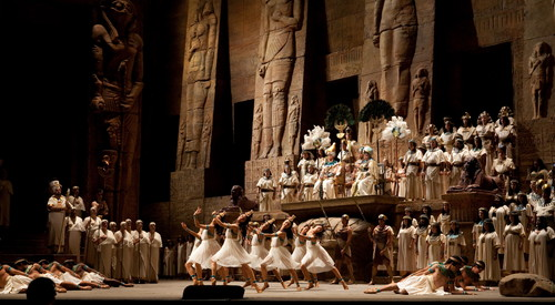 "A scene from the ballet in Verdi's ""Aida"" with new choreography by Alexei Ratmansky. Photo: Marty Sohl/Metropolitan Opera  Taken during the dress rehearsal on September 29, 2009 at the Metropolitan Opera House in New York City."