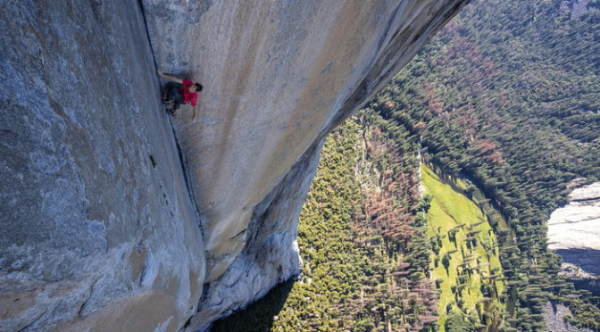 Alex Honnold climbs through the enduro corner on El Capitan's Freerider. (National Geographic/Jimmy Chin)
