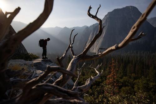 フリーソロAlex Honnold at the base of El Capitan in Yosemite National Park. (National Geographic/Jimmy Chin)