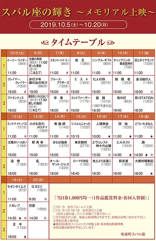 スバル座の輝き〜メモリアル上映〜タイムテーブル