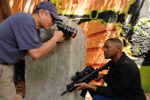 Director Ang Lee and Will Smith on the set of Gemini Man from Paramount Pictures, Skydance and Jerry Bruckheimer Films.