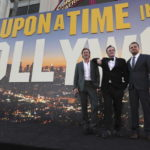 """Hollywood, CA - July 22, 2019: Brad Pitt, Quentin Tarantino, Director/Writer/Producer, and Leonardo DiCaprio at the Premiere of Sony Pictures' """"Once Upon A Time In Hollywood"""" at the TCL Chinese Theatre. (Photo by Eric Charbonneau/for Sony Pictures/Shutterstock)"""